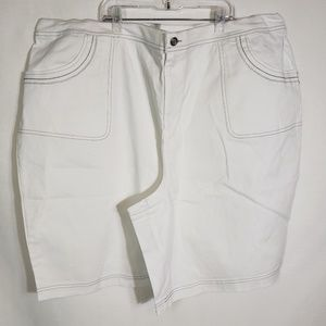 Denim & Co Shorts White Elastic Side Waist Stretch